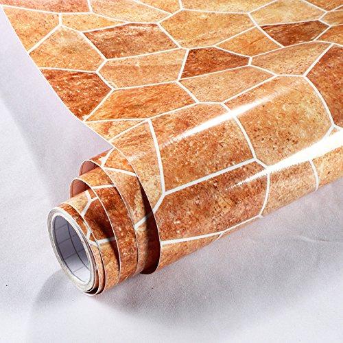 LGH-Verdickung, wasserdicht, PVC-Anti- Aufkleber, kunstmarmor Muster, Fensterbänke, Schrank, Schränke, Desktop, renoviert, Aufkleber, 60 cm*5 m, verschiedene Größen, sand-gelbe Farbe, 60 cm*5 m