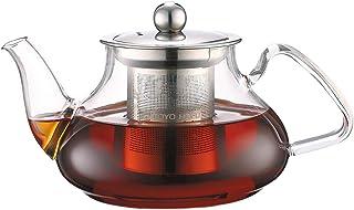 TOYO HOFU Tetera de cristal claro con infusor resistente al calor estufa de gas seguridad desmontable infusor de acero inoxidable 800ml/28oz