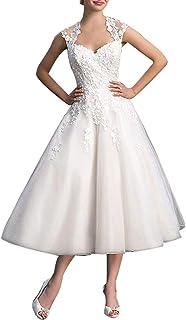 Abito da sposa da donna, corto, vintage, abito da sposa in pizzo, tulle, linea A, abito da sposa