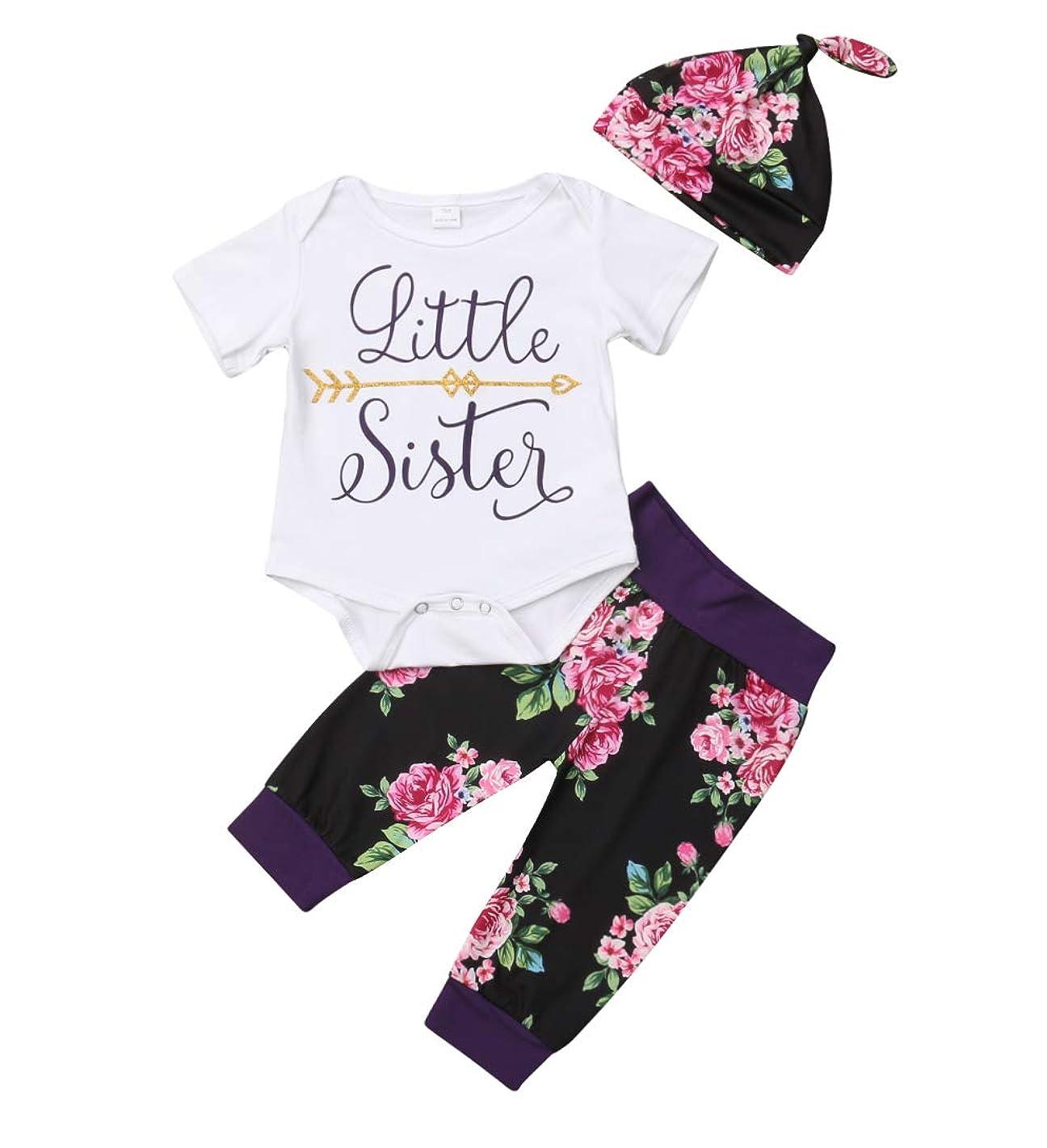 Baby Girls Little Sister Big Sister Short Sleeve Bodysuit T-Shirt Tops Floral Pants Bowknot Headband Hat Outfits Set