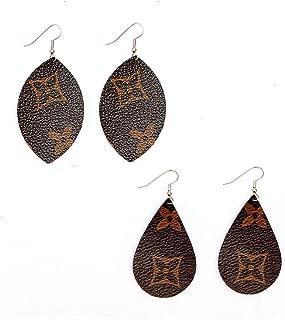 Monogram Style Canvas Earrings, Designer Fashion Luxury LV Print