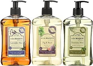 A La Maison de Provence Liquid Soap Lavender Aloe, French Liquid Soap Rosemary Mint & Liquid Soap Fig Basil - 16.9 fl oz each