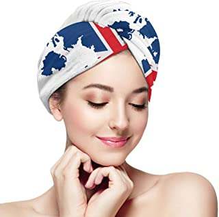 Map And Flag Of UK Microfiber Hair Drying Towel with Button Ultra Absorbent Twist Hair Turban Quick Drying Cap Hair Wrap