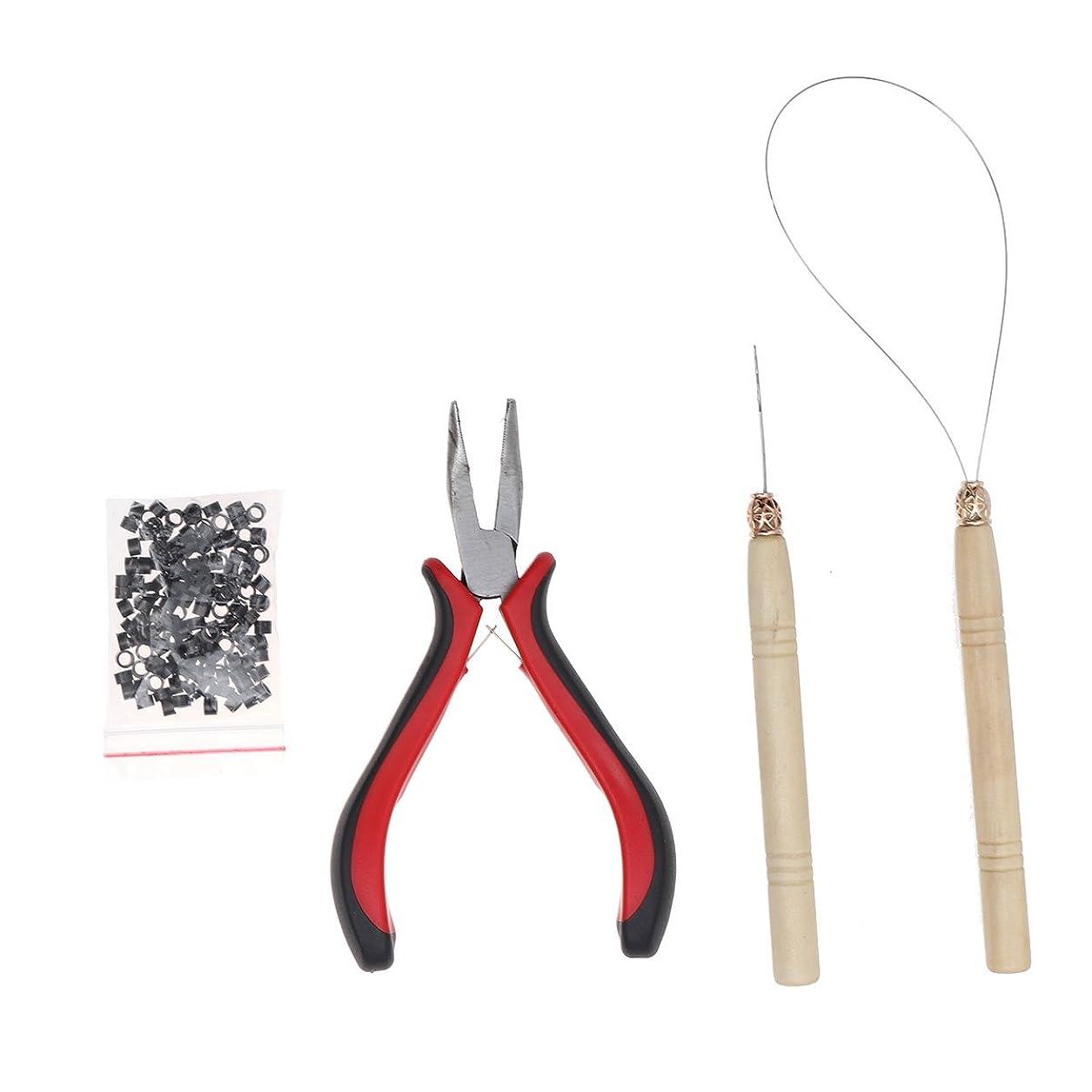 受け入れ単調な彫るSUPVOX 4本ヘアエクステンションツールキットマイクロリンクリングベンディングプライヤーマイクロプルニードルループスレッド