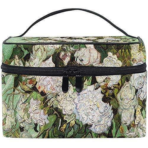 Trousse de maquillage Van Gogh Roses Portable Grand Trousse de toilette cosmétique Voyage Train Case Organizer Box Pouch