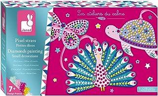 Janod - Coffret Pixel Strass Petites Décorations - Les Ateliers du Calme - Kit Loisir Créatif Enfant - Apprentissage Motri...
