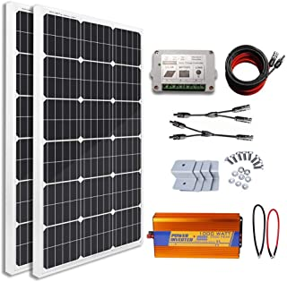 ECO-WORTHY 200 Watts Solar Kit Off Grid: 2pcs 100W Mono Solar Panel + 1KW Pure Sine Wave Inverter + 16.4Ft Solar Cables with Connector + PWM Charge Controller + Mounting Brackets for Homes Car Charger
