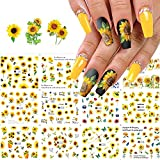 Sunflower Nail Art Stickers Water Transfer Nail Decals Floral Flower Nail Art Supplies Small Daisy Flowers Designs Nail Foils Transfer Sticker Nail Accessories for Women Girls Manicure (12 Sheets)