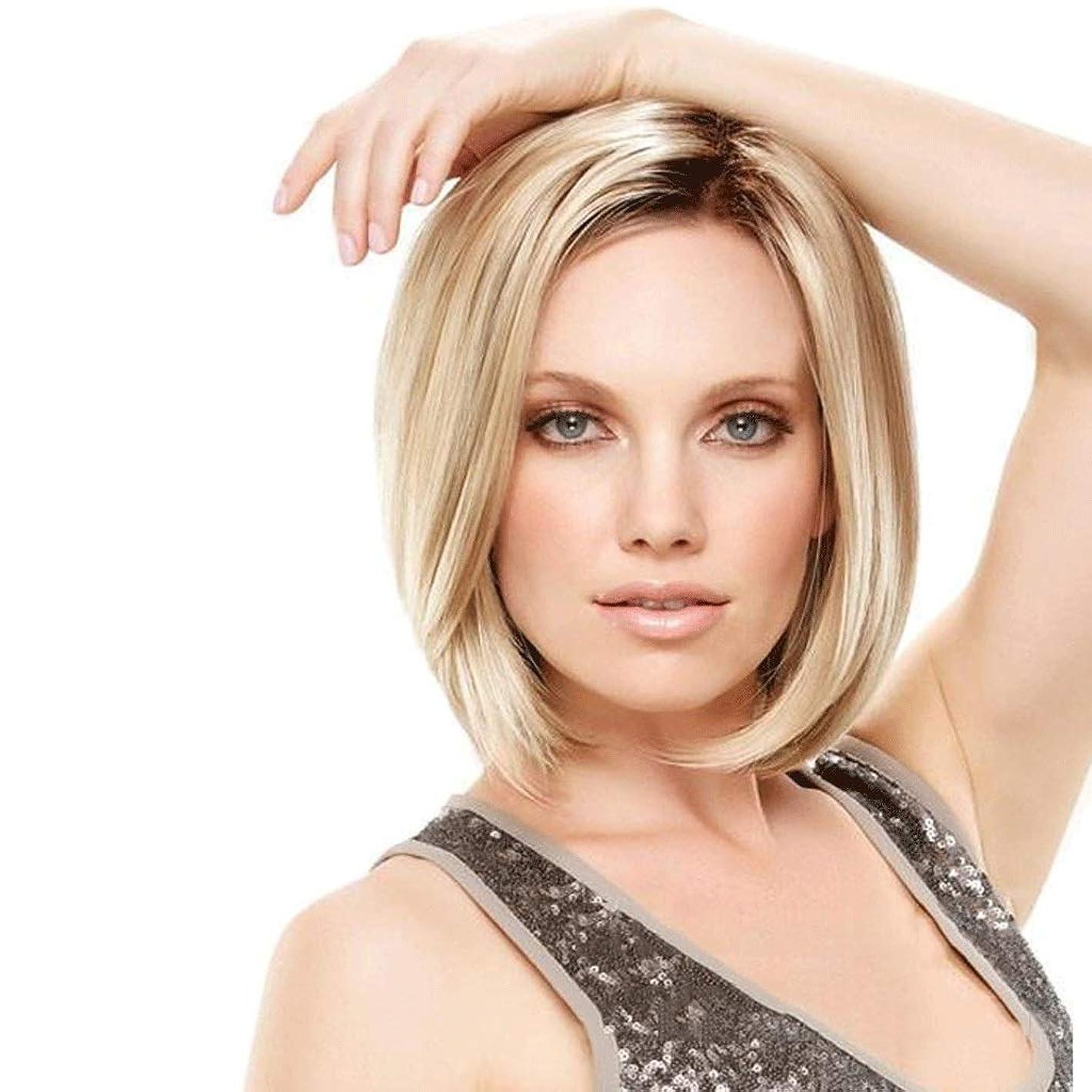 ええ評価角度ローズネットキャップ、ライトゴールデンフルキャップコスプレ合成かつら女性コスプレパーティー用ショートストレートブロンドウィッグ (Color : Blond)