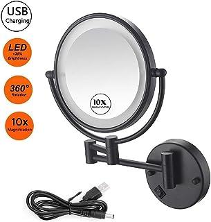 Specchio per trucco in rame bilaterale Stile europeo Specchi a parete oro Specchio da barba specchio da trucco pieghevole da 8 pollici Specchio ingranditore da 3 ingrandimenti