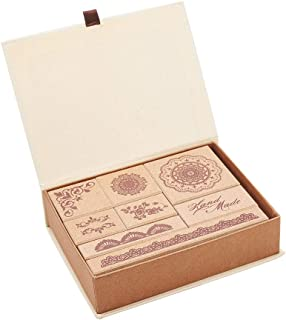 WANDIC Wood Mounted Rubber Stamps, 8 Pcs/Set Lace Rubber Stamps with Storage Box for DIY Crafts, Card Making and Scrapbooking