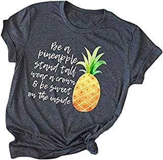 Womens Pineapple Printed T Shirt Casual Summer Casual Short Sleeve Graphic Tees Tops Blouse
