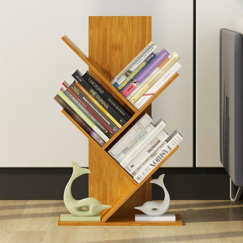 QIANGDA Bookshelf Split-Level Design Bamboo Floor Bookrack Tree-Shape Bookcase High Capacity Commodity Shelf, 7 Sizes Optional (Size   40 x 21 x 54cm)