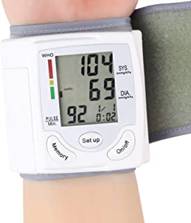 Camidy Brazalete de Monitor de Presión Arterial de Muñeca Máquina de Brazalete de Muñeca Digital con Pantalla Digital Automática para Dispositivo de Autocomprobación en El Hogar