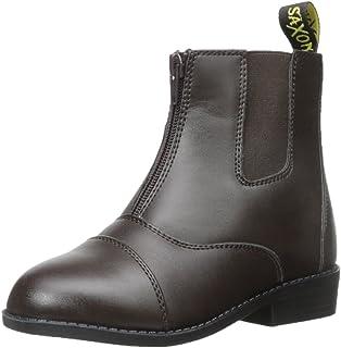 Saxon 女童皮革前拉链靴,黑色,儿童尺码 10