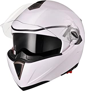 AHR Full Face Flip up Modular Motorcycle Helmet DOT Approved Dual Visor Motocross White XL