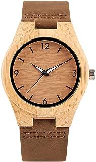 Reloj de Pulsera Creativo de Madera, Correa de Cuero Genuino