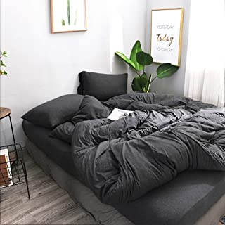 FOSSA Jersey Knit 2 Pieces Duvet Cover Set Queen T-Shirt Heathered Cotton Super Soft Comfortable (Charcoal, Twin)