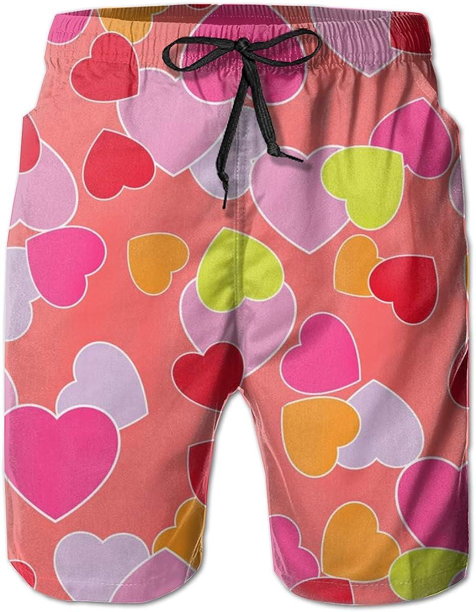 Men Beach Board Shorts Surfing Swimwear Swim Trunks (Love Heart Patterns)
