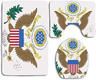 Great Seal of The United States 3pcs Set Rugs Skidproof Toilet Seat Cover Bath Mat Lid Cover Cushions Pads