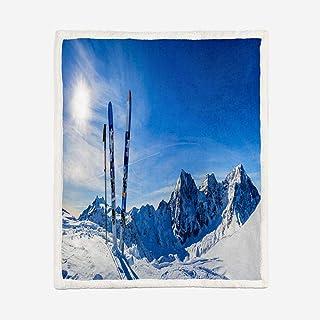 JYNVOAT Mantas de Sherpa Súper Suaves Esponjosas para El Sofá Cama Colcha de Microfibra-Montañas Nevadas en Invierno Manta de Sherpa de impresión 3D Microfibrade 150x200cm