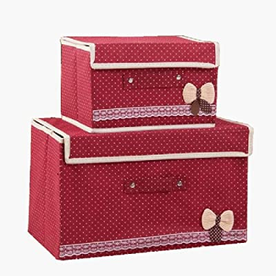 storage box Folding with lid 2 Packs/Linen, with Handle, Bedroom, Under