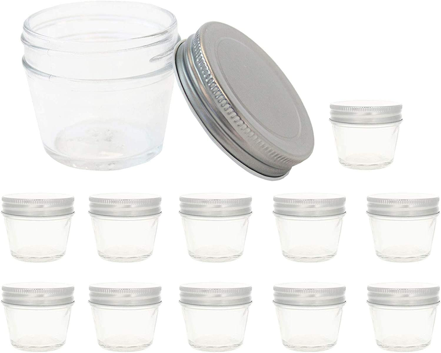 ModParty 4 oz Glass Direct sale of manufacturer Mason Jars With Lids Favo 100% quality warranty! Silver set 12