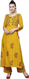 Ishin Women's Rayon Mustard Yellow Embellished Anarkali Kurta Palazzo Set
