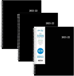 """$24 » Blue Sky 2021-2022 Academic Year Weekly & Monthly Planner, 3 Pack, 8.5"""" x 11"""", Flexible Cover, Wirebound, Enterprise (135773)"""
