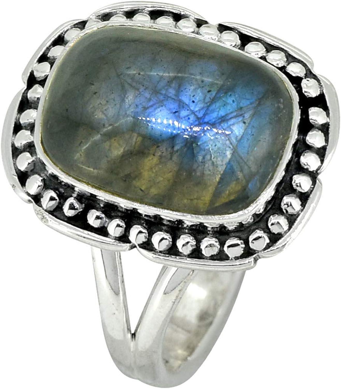 YoTreasure 2020A W新作送料無料 Blue Fire 定番 Labradorite Solid Sterling Ring Silver 925