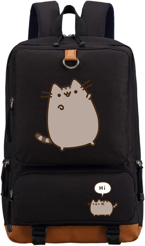 Cat Cute Unicorn Backpack Schoolbag Casual Backpack Teenagers Men Women's Student School Bags Travel Laptop Bag Black