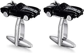 Stainless Steel Car Black Cufflinks for Men Shirt Wedding Business Gift