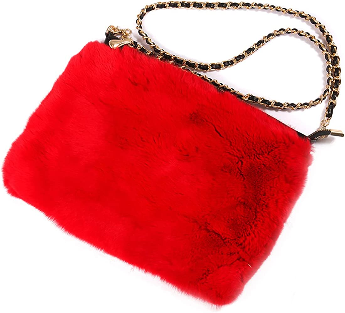 URSFUR Women Evening Handbag Authentic Mink & Rabbit Fur Clutch Shoulder Bag Purse