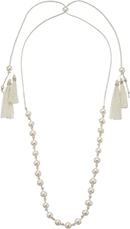 Chan Luu - Sterling Silver Adjustable Necklace On Mokuba Cord w/ Fresh Water Cultured Pearls