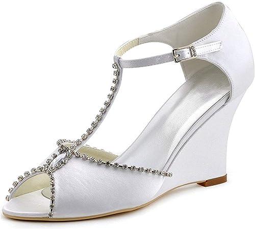 ZHRUI Ladies T-Strap Cristaux Blanc Satin Wedge Chaussures De Soirée De Mariage à Talons Hauts UK 7.5 (Couleuré   -, Taille   -)