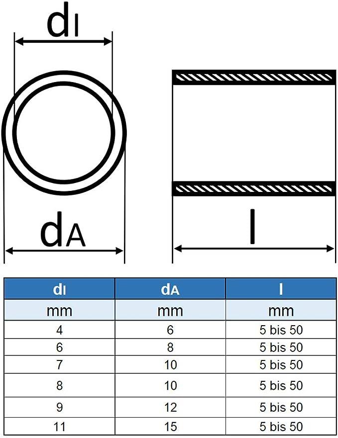 5 St/ück /Ø innen: 6 mm; /Ø au/ßen: 8 mm; L/änge: 35 mm - Abstandshalter rostfrei Distanzhalter- VA Abstandsh/ülse Distanzh/ülse aus Edelstahl Rohr geschei/ßt Eisenwaren2000