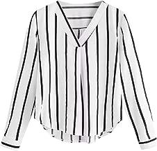 MOTOCO Gestreiftes Langarmhemd mit V-Ausschnitt für Frauen Unregelmäßige Bluse mit Umlegekragen und Knopfleiste