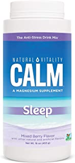 Natural Vitality Natural Calm Calmful Sleep Magnesium Anti Stress Extra Sleep Support, Mixed Berry, 16 oz (...