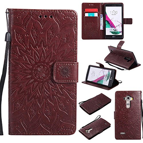 LG G4 Case,THRION Elegant Retro PU Leather Flip Wallet Cover with Card Slot Holder and Magnetic Closure for LG G4, Brown