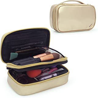 Relavel Makeup Bag, Small Cosmetic Organizer Travel Makeup Brush Bag Multifunctional Cosmetic Bag 2 Layer Makeup Pouch Holder Portable PU Leather Bag for Women (Champagne Gold)