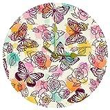 Yoliveya Orologio da parete rotondo silenzioso farfalla fiore rosa decorativo senza ticchettio orologio silenzioso per regalo casa ufficio cucina vivaio camera da letto 25 cm