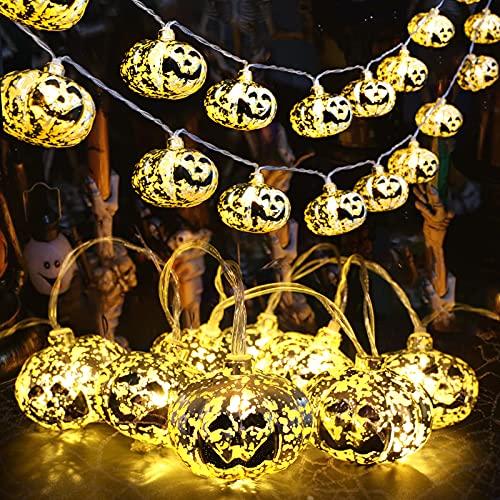 MILEXING 10ft 20 LEDs Waterproof Pumpkin String Lights Halloween...