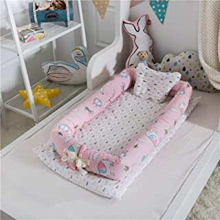 Wa m Newborn Baby Crib Foldable Infant Nest Bionic Bed Sleeping Artifact Baby Nest Bed Toddler Nest With Pillow for travel Style-14 90x55cm