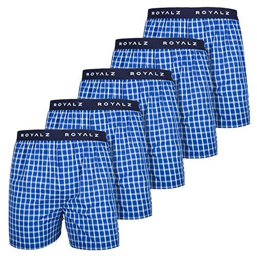 ROYALZ 5 Set Heren Boxershorts Amerikaanse Stijl Geruit Wit Blauw losse Onderbroek Webboxer 100% Katoen voor Mannen 5 Pakje