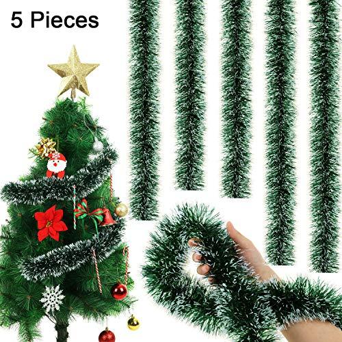 WILLBOND 5 Pezzi 6,6 Piedi Ghirlanda Natalizia Orpello Ghirlanda di Orpelli Innevati per Decorazioni sul Soffitto Sospeso per Feste (Verde Nerastro)