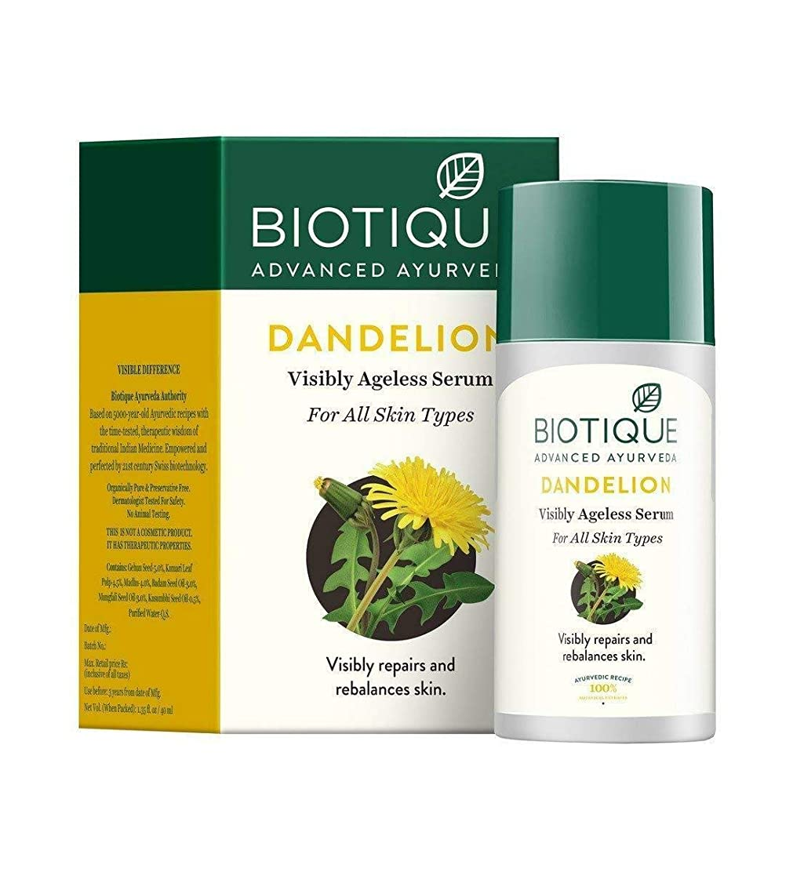 おんどり素朴な所属Biotique Bio Dandelion Visibly Ageless lightening serum, 40 ml Rich in Vitamin E Biotiqueバイオタンポポ目に見えないエイジライトニング血清豊富なビタミンE
