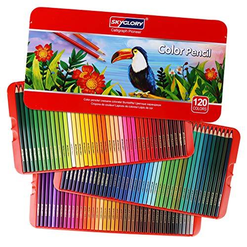 Crayon de Couleurs Professionnel, 120 Pièces Crayons de Dessin Crayons Croquis Art Set, Materiel de Dessin et Personnalisé Grande Trousse, Ideal Pour Enfants, Adultes et Artistes