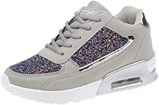AUCDK Women Fashion Sneakers Suede Upper Shock Absorbing Athletic Trainers with Air Cushioned Sole and Sequin Decoration