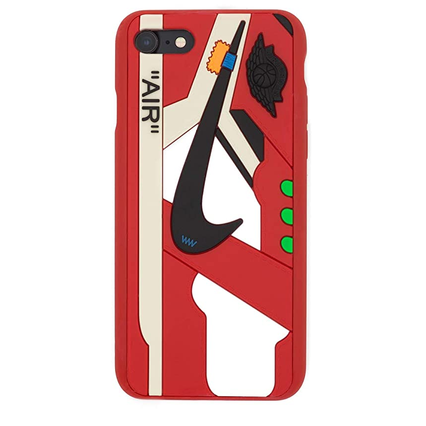 iPhone Shoe Case Chicago/White 1's Official 3D Print Textured Shock Absorbing Protective Sneaker Fashion Case (Red, iPhone 7/8)