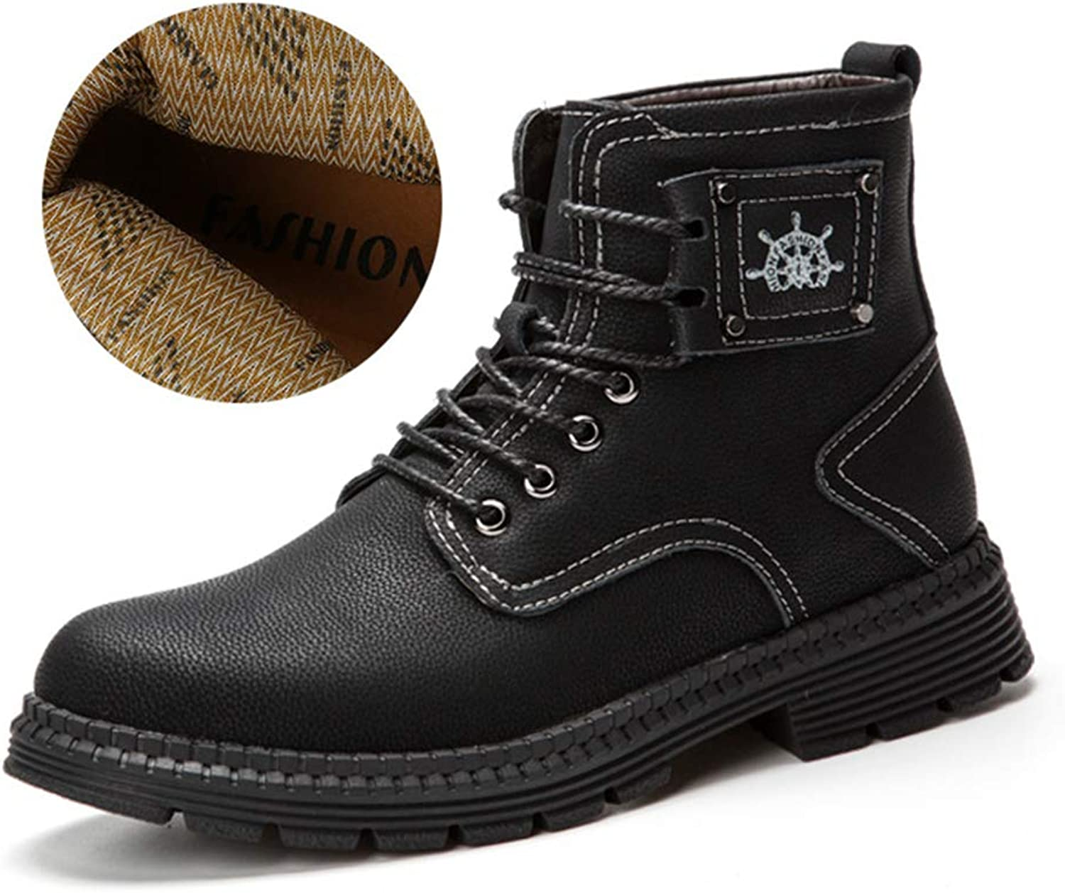 Phil Betty Mens Martin Boots Plus Velvet Warm Non-Slip Lace Up Casual Comfortable Booties